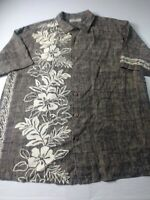 Tommy Bahama Mens Shirt Size L Brown Floral Short Sleeve 100% Silk Hawaiian