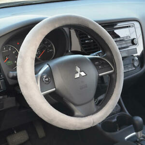 Soft Leather Sports Grip Ergo Steering Wheel Cover Gray Universal 14.5-15.5""