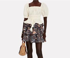 New AUTH ULLA JOHNSON Evita Poplin Puff Sleeve Top Color White