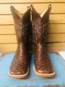Men's Chocolate Brown Full Quill Ostrich Cowboy Western Boot