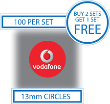 100 X Vodafone Stickers Mobile Phone Display Labels Smartphones Cells Vinyl 13mm