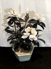 """Vintage White Floral Green Jade Leaves Celadon Pot 12"""" Posable"""