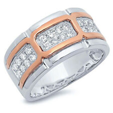 Mens 0.59 CT 14K Two Tone Rose Gold 11mm Round Diamond Mans Fashion Ring Band