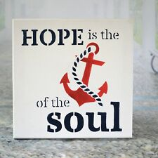 Hope Anchor Nautical Canvas Sign Painted Wall Plaque Stretched Canvas Beach