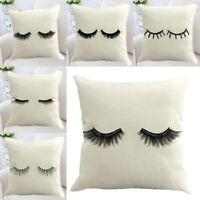 Linen Cotton Eyelash Pillow Case Throw Cushion Cover Home Bed Sofa Decor
