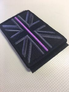 1 X Thin Purple Line Union Jack Flag Patch hook And loop 8 X 5 cm Border Forces
