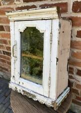 Vintage Wood Wall Hanging Cupboard / Cabinet - Glazed Door - Bathroom / Kitchen