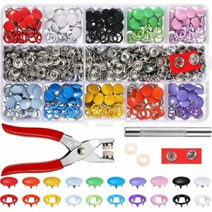 200/100 Sets 9.5mm Metal Snaps Buttons with Fastener Pliers Press Tool Kit
