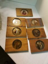 """Lot of Antique """"Scripture Views"""" Reverse painted glass collectibles  GGJA"""