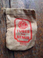 Vintage GE General Electric tubes semi burlap bag popcorn premium advert unusual