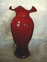 Collectible Ruby Red Blown Cased Art Glass Ruffle Vase - Smooth Pontil