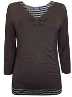 Women's Sizes 12,14,16,18 Brown Striped Insert 3/4 Sleeve Jersey Top (b19)