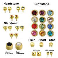 100% Genuine Caflon Blu Stud CZ Shape Stone Gold Plated Ear Piercing Earrings