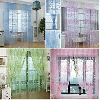 1Pair Floral Tulle Voile Door Window Curtain Drape Panel Sheer Scarf Valance