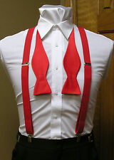 Men's clip-on suspenders x back and Self Tie Bow Tie Steampunk Costume Tux Prom
