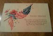 Antique Vtg American Flag Postcard Gibson Card 1920 Birthday Patriotic USA