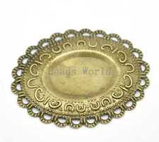 30 Bronze Tone Filigree Oval Cabochon Settings Wraps Connectors Findings 42x37mm