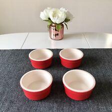 Four Red Glazed Ceramic 9cm Serving Ramekins
