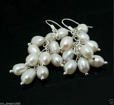 925 Silver Hook Earrings Aaa Natural 7-8mm White Rice Freshwater Pearl