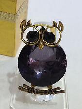 OWL GOLD STRETCH RING w/ BIG DARK BLUE STONE & BLACK EYES WOMENS SIZE 7 8 9 10 +