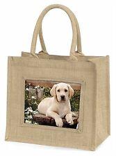 Yellow Labrador Puppy Large Natural Jute Shopping Bag Christmas Gift , AD-L71BLN