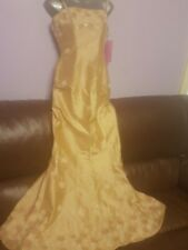 Anoushka G* Gold Silk Beaded Evening Prom Wedding Party Dress Whit Scarf Size 10