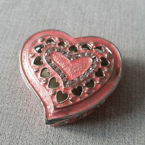 Heart-Jewelley Box-Trinket Box-Pink -Metal - Diamante -New