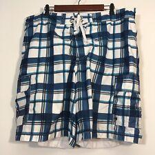 Merona Swim Shorts Men Size XL Blue Check Print With Drawstring