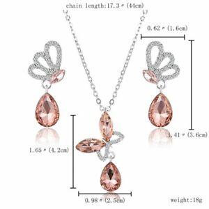 Elegant Crystal Rhinestone Flower Butterfly Dragon Necklace Earrings Jewelry Set