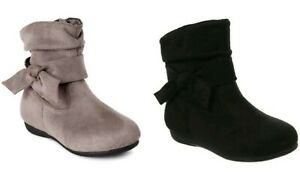Wonder Nation Toddler Girls' Black or Gray Bow Slouch Slip-on  Boots Shoes: 12-6