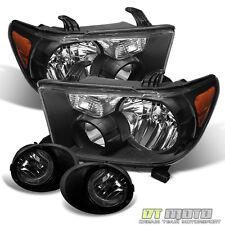 2007-2013 Toyota Tundra Black Headlights +Smoked Bumper Fog Lights Left+Right