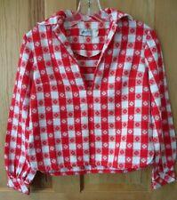Vtg 1950s Henley Jr New York Womens Rockabilly Pin Up Red White Check Shirt Top
