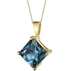 Oravo 14 Kt Yellow Gold Princess Cut 3.00 cts Created Alexandrite Pendant