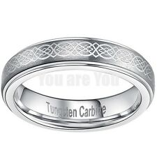 4MM Tungsten Carbide Wedding Band Ring Engraved Celtic Brushed Size 7