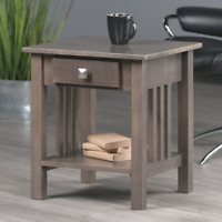 Contemporary 1-Drawer Sofa Side Table Living Room Lamp Decor Photo Display Gray