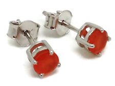 Carnelian round faceted stud earrings, Solid Sterling Silver, actual ones. 🇬🇧