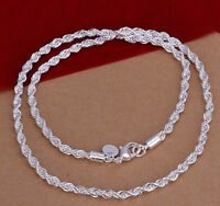 "925 Sterling Silver Women's Elegant Rope Chain 24"" Link Necklace +FreePouch D157"
