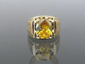 Natural Citrine Gemstone with Gold Plated 925 Sterling Silver Men's Ring