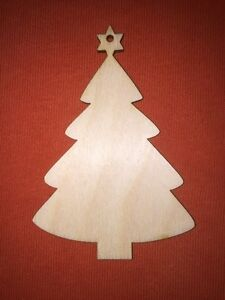 10 x TREE n40  WOODEN SHAPES PLAIN EMBELLISHMENRS HANGING CRAFT CHRISTMAS TAG
