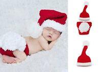Baby Boy Girl Santa Claus Crochet Knit Tail Hat Short Photo Prop Cap Newborn-24M