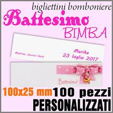 100 Bigliettini - Biglietti battesimo bimba - bomboniera - x confetti