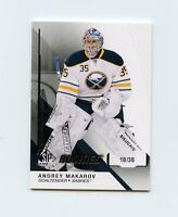 14/15 SP GAME-USED SPGU ROOKIE RC #110 ANDREY MAKAROV 18/35 SABRES