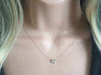 9Ct 9K Yellow Gold Blue topaz sliding pendant on 16'' 18''  chain necklace
