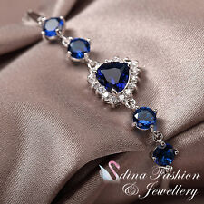 18K White Gold Plated Made With Swarovski Crystal Ocean Heart Sapphire Bracelet