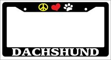 Black License Plate Frame Peace love Paw Dachshund Auto Accessory Novelty 363