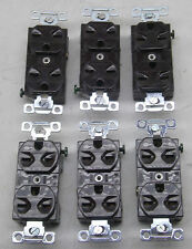 NEW LOT OF 6 BRYANT RECEPTACLE OUTLETS 5652 BROWN BACK AND SIDE WIRED 15A 250V