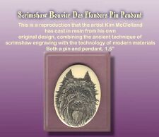 Bouvier Des Flandres Dog Scrimshaw Art Pendant/Pin