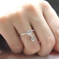 Fashion Women's 925 Silver White Sapphire Waterdrop Chain Ring Wedding Jewelry