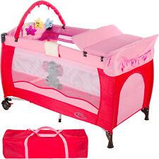 Cuna de viaje portátil plegable con acolchado ajustable para bebé rosa