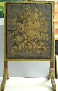 Antiker Kaminschirm Paravent fein gewebtes Blumenbild / Gobelin Empire sehr gut